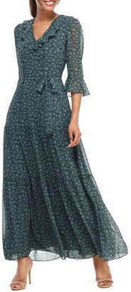 Gal Meets Glam Pressed Floral Ruffle V-Neck 3/4-Sleeve Maxi Dress