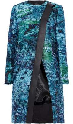 Proenza Schouler Leather-Trimmed Metalllic Jacquard Coat