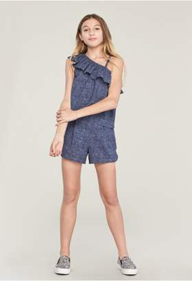 Milly Minis Denim Print Ruffle Shoulder Top