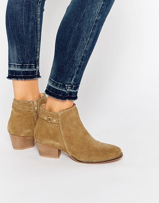 Oasis Real Suede Buckle Detail Ankle Boot $57 thestylecure.com