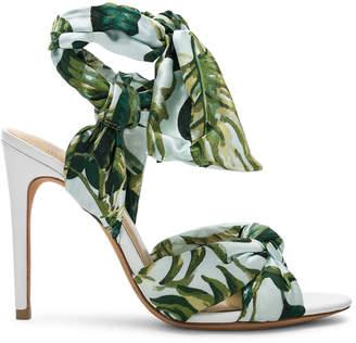 Alexandre Birman Kacey Silk Heels in Green & White | FWRD