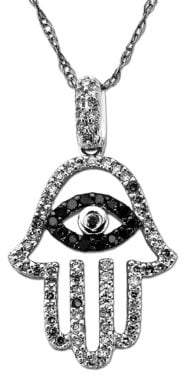 Lord & Taylor Two Tone Diamond Hamsa Hand Pendant in 14 Kt. White Gold 0.33 ct. t.w.