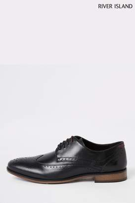 River Island Mens Roger Leather Black Brogues - Black