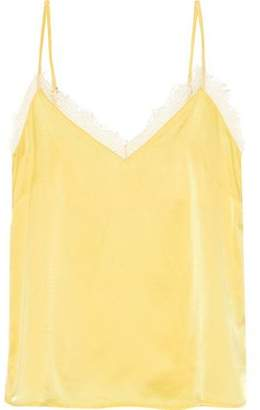 Anine Bing Lace-trimmed Silk-satin Camisole