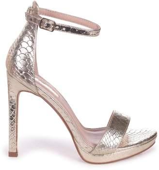 979a2c3434a Barely There Linzi Gabriella Gold Lizard Stiletto Heels With Slight Platform