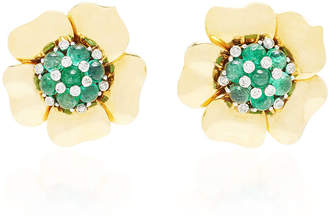 Mauboussin Mahnaz Collection Limited Edition 18K Gold And Emerald Flower Earrings By Trabert & Hoeffer C.1940.