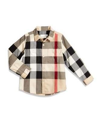 Burberry Mini Camber Check Shirt, Tan, Size 4-14