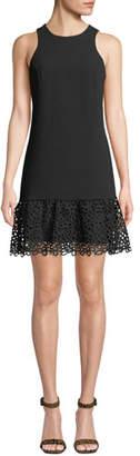 Trina Turk Berry Sleeveless Ruffle & Eyelet Dress