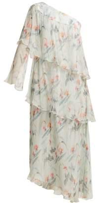 Vilshenko Christelle One Shoulder Floral Print Silk Dress - Womens - Blue Print