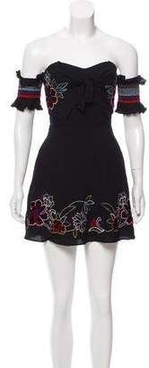 Red Carter Embroidered Short Sleeve Mini Dress w/ Tags