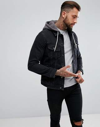 Asos DESIGN denim jacket with jersey hood in black