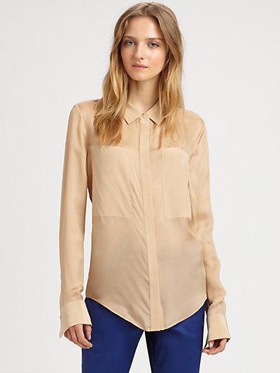 T by Alexander Wang Silk-Rich Button-Down Shirt