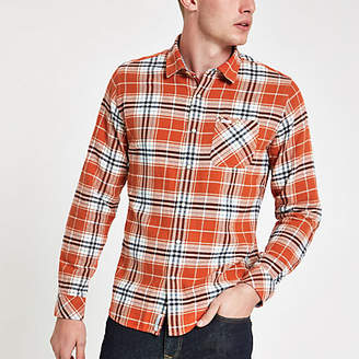 River Island Pepe Jeans red check long sleeve shirt