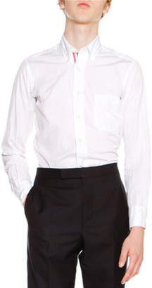 Thom Browne Classic Oxford Shirt with Tricolor Placket, White