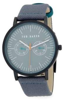 Ted Baker Chronograph Stainless Steel Woven Strap Watch