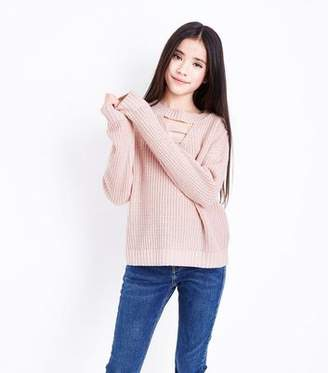 New Look Teens Pale Pink Lattice Front Jumper