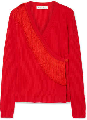Altuzarra Daumier Fringed Ribbed Merino Wool Wrap Sweater - Tomato red