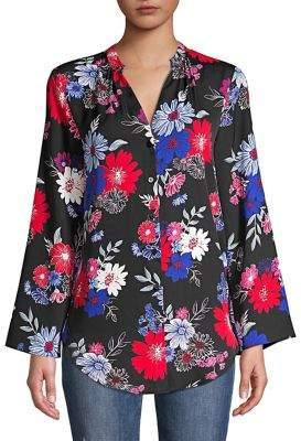Context Floral Bell-Sleeve Top