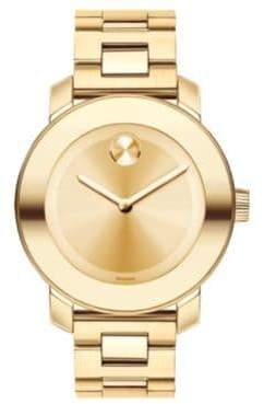 Movado Bold Goldtone IP Stainless Steel Bracelet Watch/36MM