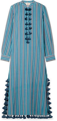 Figue Paolina Tasseled Striped Cotton-blend Voile Midi Dress - Blue