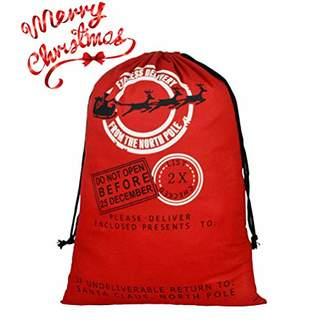 "DIY Personalized Santa Sack Large Christmas Presents Sacks Bags with Drawstring 19""x27""+1 Red Satin Ribbon for Xmas Gift Decorations 3/4""x3 Yards"