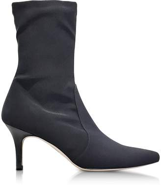 Stuart Weitzman Axiom Black Micro Stretch Fabric Pointed Toe Heel Booties