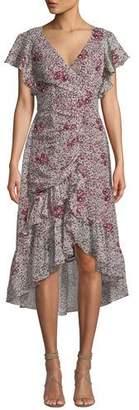 Shoshanna Elnora Asymmetric Shirred Floral Dress