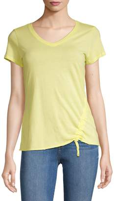 Calvin Klein Side Ruched Cotton Blend Tee