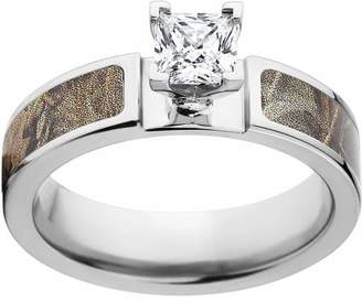 Realtree Max 4 Women's Camo 1 Carat T.G.W. Princess CZ in 14kt Whit Gold Prong Setting Cobalt Engagement Ring with Polished Edges and Deluxe Comfort Fit