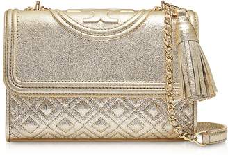 Tory Burch White Gold Metallic Leather Fleming Small Convertible Shoulder Bag