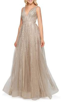 Mac Duggal Soft-Pleated V-Neck Gown