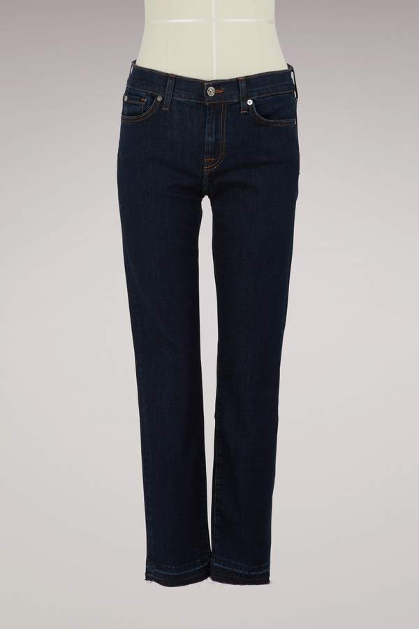 7 For All Mankind Mid-rise Roxanne crop unrolled jeans