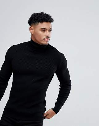 Asos Design DESIGN muscle fit ribbed roll neck sweater in black