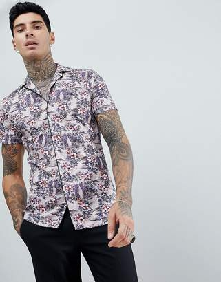 Twisted Tailor piped revere shirt in pink with print