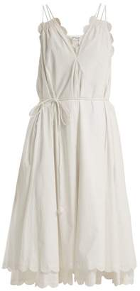 Apiece Apart Mirage Scalloped Cotton Poplin Dress - Womens - Cream