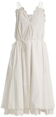 Apiece Apart Mirage Scalloped Cotton Poplin Dress - Womens - Cream