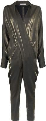Poiret metallic draped jumpsuit
