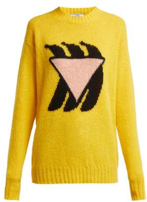 Prada Shetland Intarsia Knit Wool Sweater - Womens - Yellow Multi