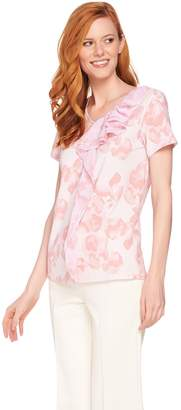 Halston H By H by Short Sleeve Floral Print Top w/ Chiffon Flounce Detail