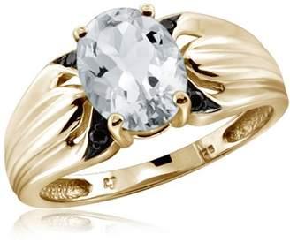Black Diamond JewelersClub 1.66 Carat T.G.W. Aquamarine Gemstone and 1/20 Carat T.W. Ring