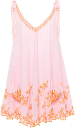 Juliet Dunn Embroidered Low Back Cotton Swing Dress