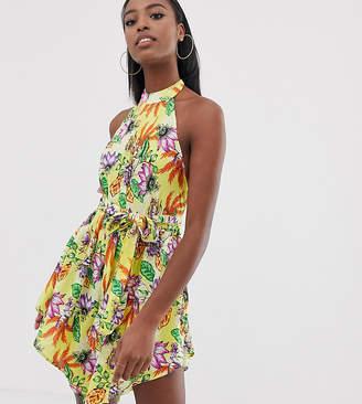 74c4db24d22 Asos Tall DESIGN Tall high neck hanky hem beach dress in yellow tropical  print