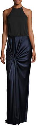 Halston Sleeveless High-Neck Mixed-Media Twist-Drape Evening Gown