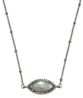 Marquis Diamond, Labradorite and Silver Choker Necklace