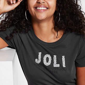 River Island Dark grey 'Joli' rhinestone embellished T-shirt
