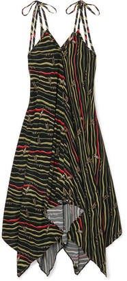 Loewe Paula's Ibiza Asymmetric Printed Crepe Dress - Black