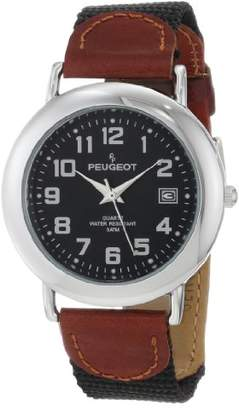 Peugeot Unisex 484BK Unisex Dial Leather and Canvas Strap Watch