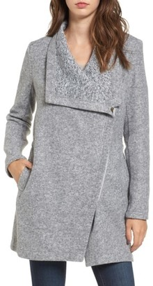Women's Bb Dakota Maggie Brushed Fleece Drape Collar Coat $119 thestylecure.com
