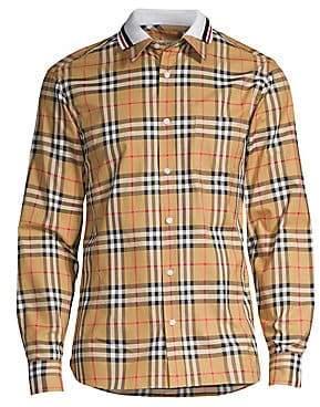 Burberry Men's Check Polo-Collar Cotton Shirt