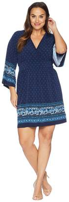 MICHAEL Michael Kors Size Printed Deep Vee Dress Women's Dress